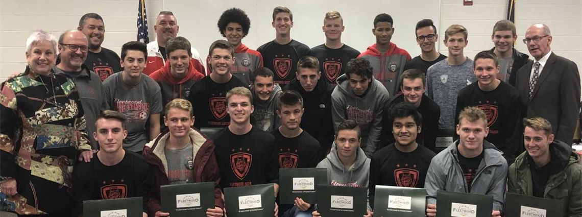 State Champs!  Fleetwood Boys soccer team was recognized at the December School Board Meeting.