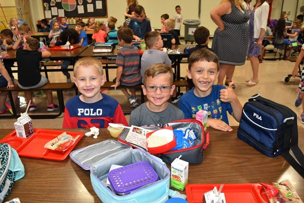 RE students enjoying lunch on the first day of school.